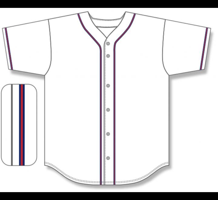 Full Button Baseball Jerseys - White/Navy/Red