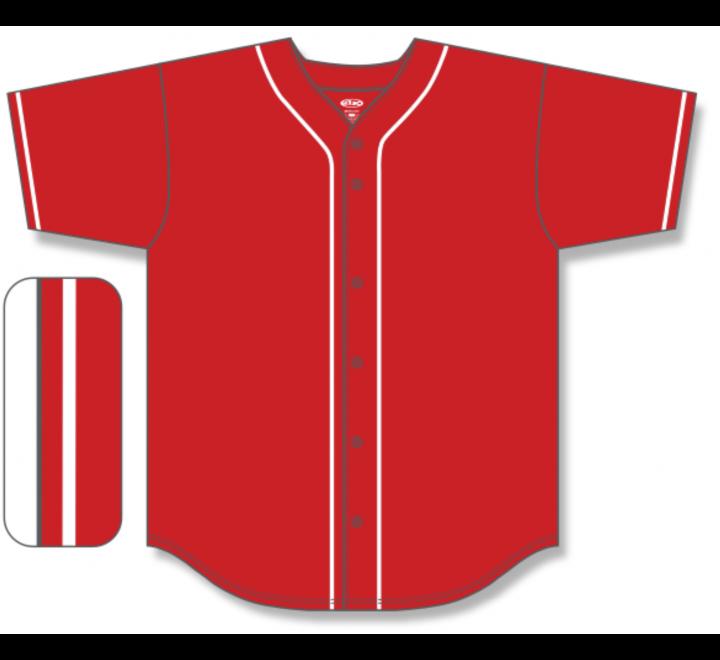 Full Button Baseball Jerseys - Red/White