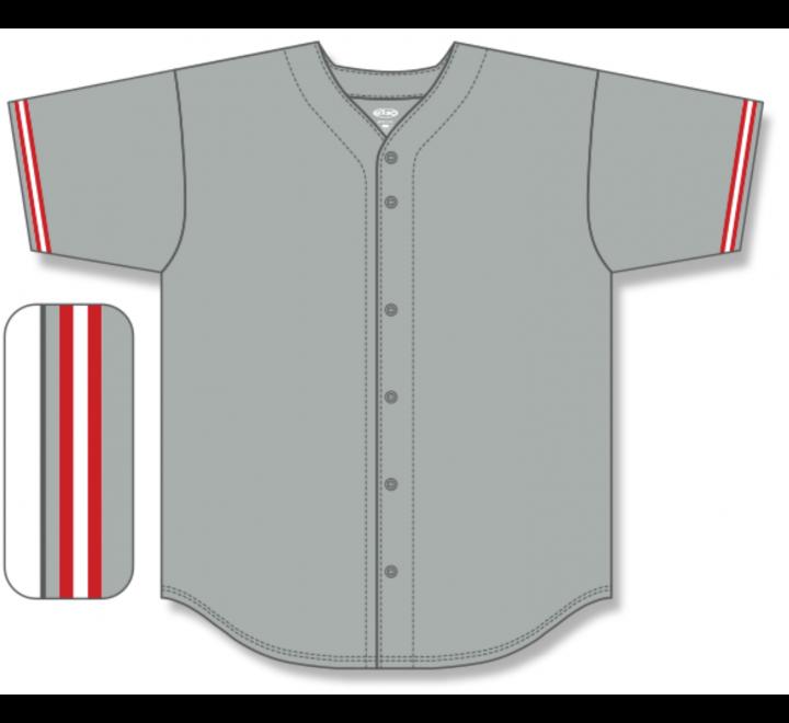 Full Button Baseball Jerseys - Grey/Red/White