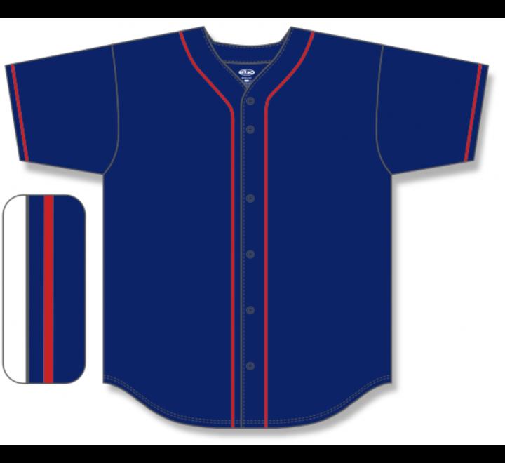 Full Button Baseball Jerseys - Navy/Red