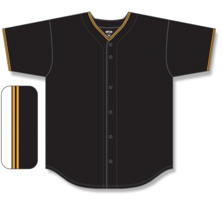 Full Button Baseball Jerseys - Black/Gold