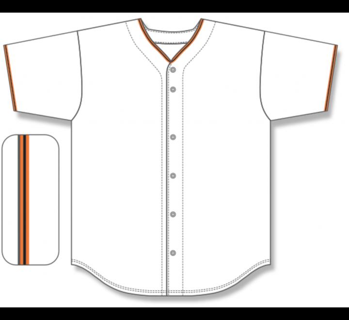 Full Button Baseball Jerseys - White/Orange/Black