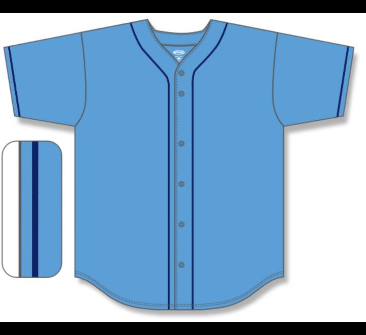 Full Button Baseball Jerseys - Sky/Navy