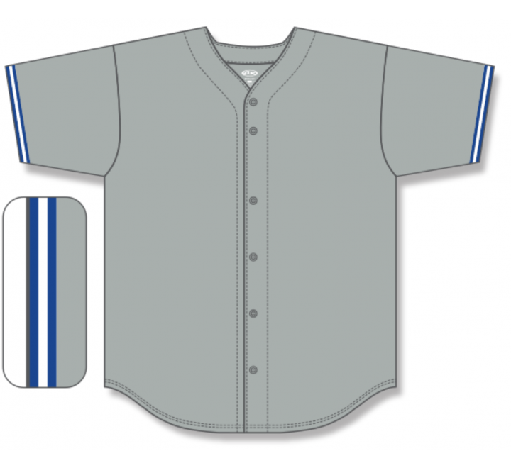 Full Button Baseball Jerseys - Grey/Royal/White