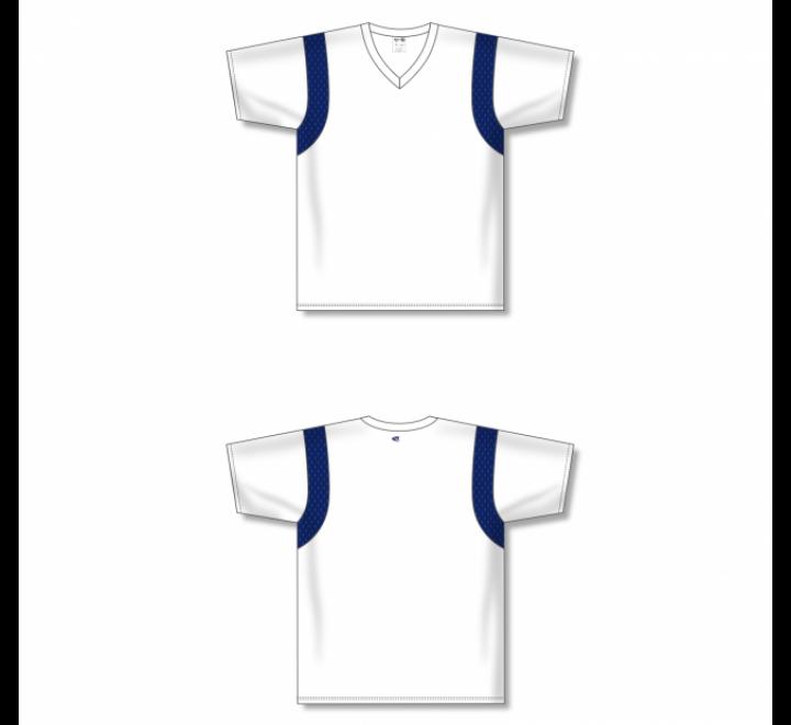 Custom Screen printed Soccer Jersey - White/Navy