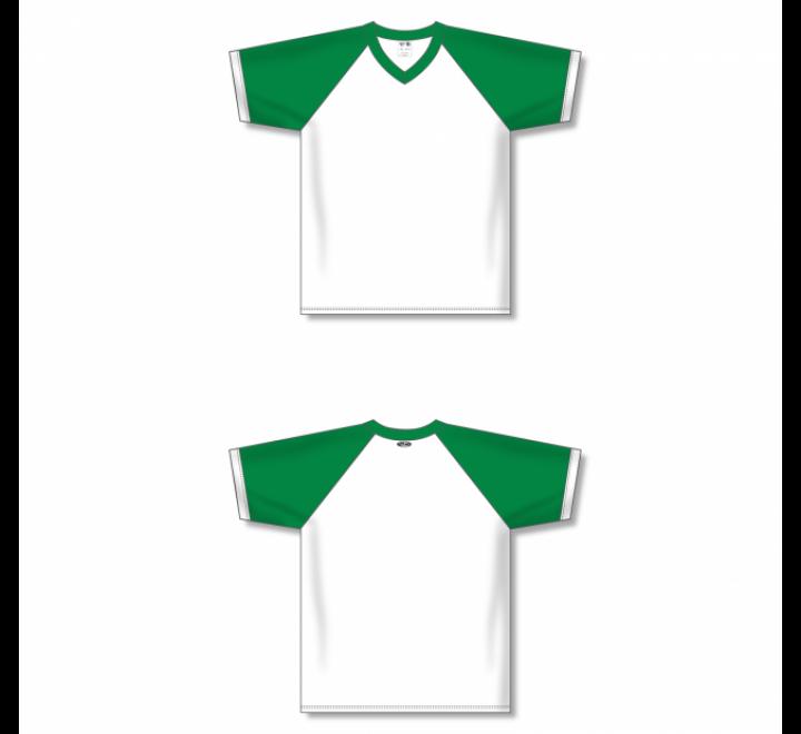 V-Neck Volleyball Jerseys - White/Kelly