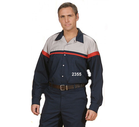 Shirt - Long Sleeve Work Shirt Two-Toned- Navy