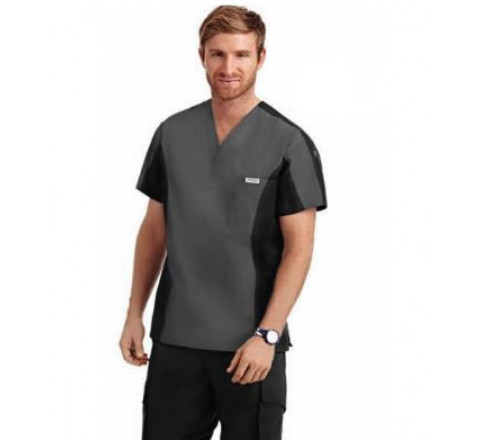 Men's Two Tone V-Neck Scrub Top / Cargo Six Pocket Scrub Pant
