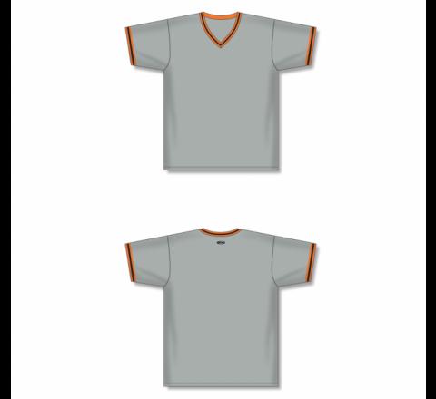 V-Neck Baseball Jersey - Grey/Orange