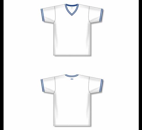 V-Neck Baseball Jersey - White/Royal