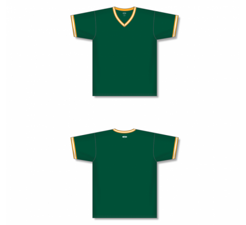 V-Neck Baseball Jersey - Dark Green