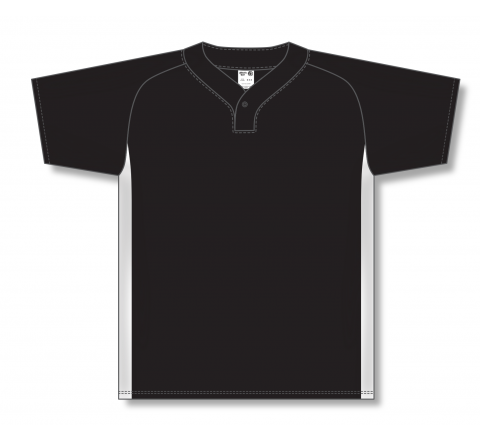 One Button Baseball Jerseys - Black/White