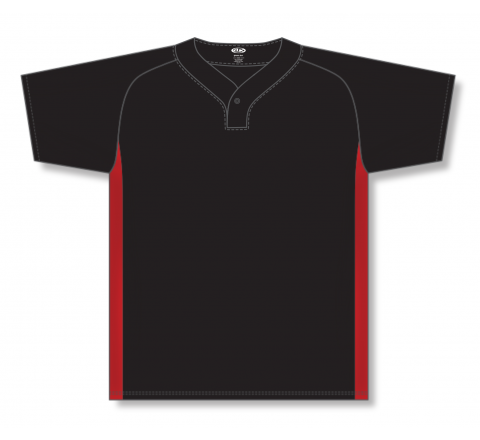 One Button Baseball Jerseys - Black/Red