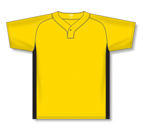 One Button Baseball Jerseys - Maize/Black