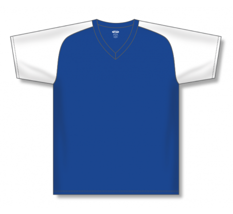 V-Neck Baseball Jerseys - Royal/White
