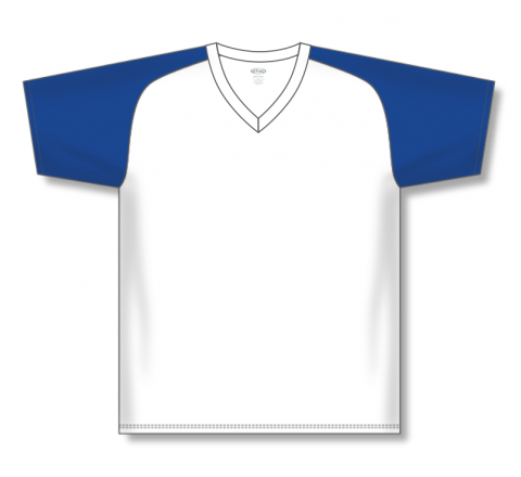 V-Neck Baseball Jerseys - White/Royal