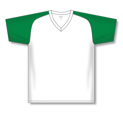 V-Neck Baseball Jerseys - White/Kelly