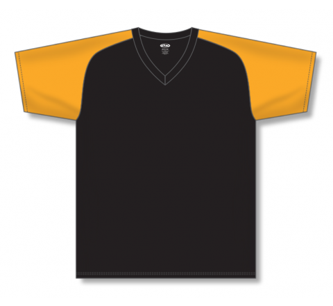 V-Neck Baseball Jerseys - Black/Gold