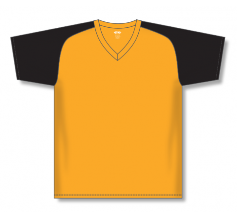 V-Neck Baseball Jerseys - Gold/Black