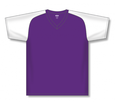 V-Neck Baseball Jerseys - Purple/White