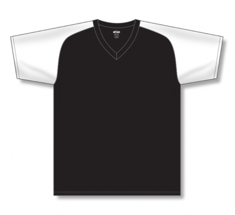 V-Neck Baseball Jerseys - Black/White