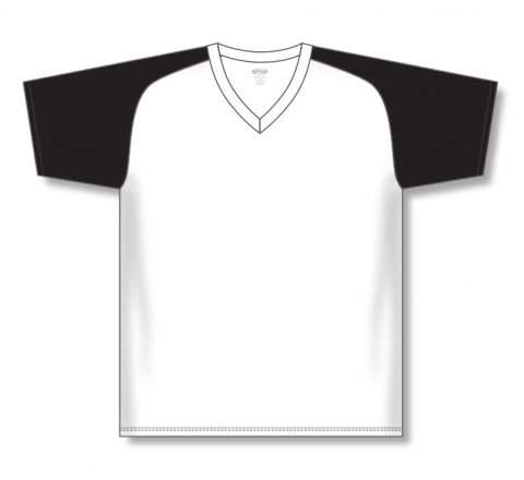 V-Neck Baseball Jerseys - White/Black