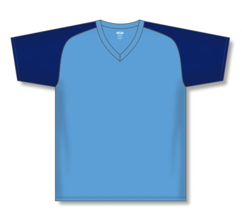 V-Neck Baseball Jerseys - Sky/Navy