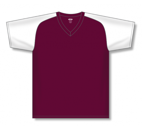 V-Neck Baseball Jerseys - Maroon/White