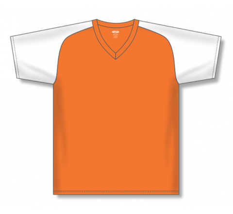 V-Neck Baseball Jerseys - Orange/White