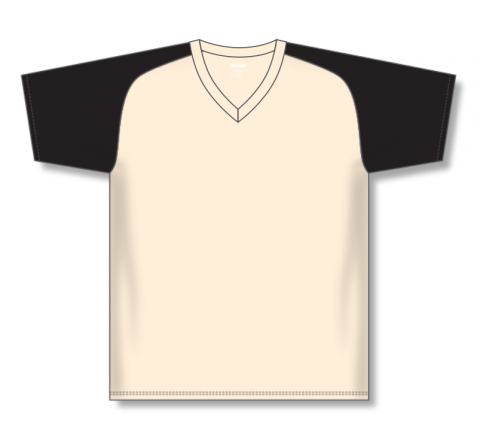 V-Neck Baseball Jerseys - Sand/Black