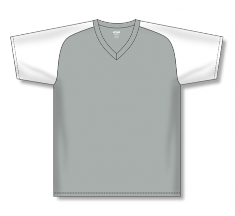 V-Neck Baseball Jerseys - Grey/White