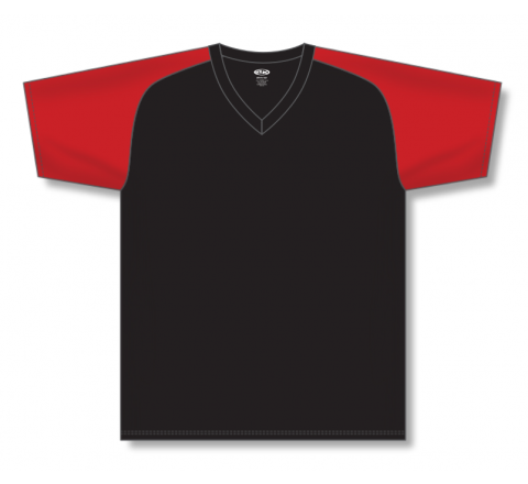 V-Neck Baseball Jerseys - Black/Red