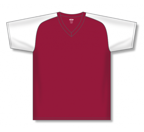 V-Neck Baseball Jerseys - Red/White
