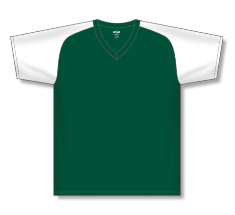 V-Neck Baseball Jerseys - Dark Green/White
