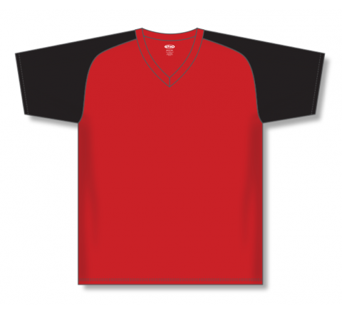 V-Neck Baseball Jerseys - Red/Black