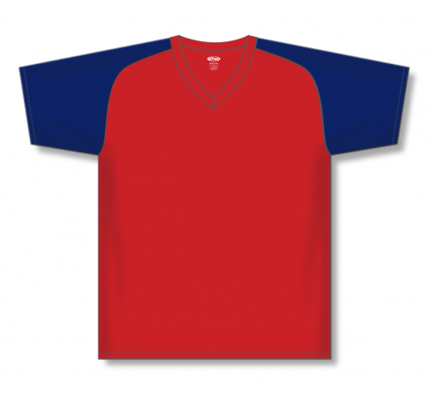 V-Neck Baseball Jerseys - Red/Navy