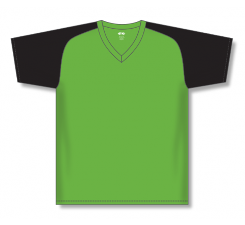 V-Neck Baseball Jerseys - Lime Green/Black