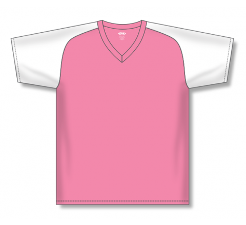 V-Neck Baseball Jerseys - Pink/White