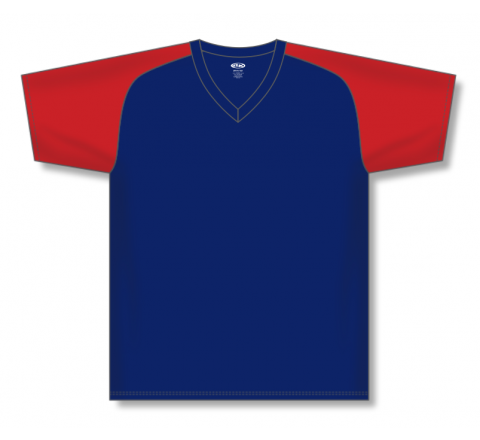 V-Neck Baseball Jerseys - Navy/Red