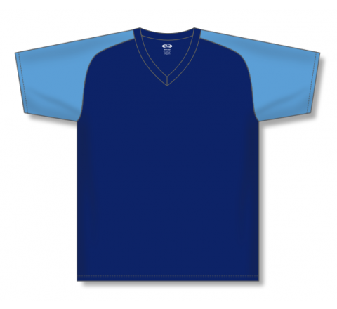 V-Neck Baseball Jerseys - Navy/Sky