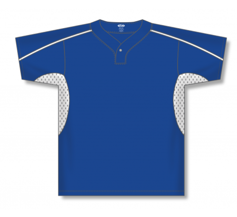 One Button Baseball Jerseys - Royal/White