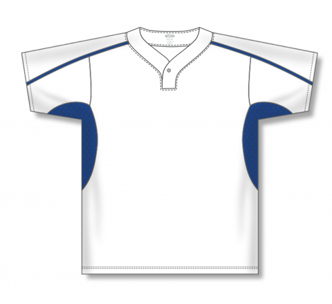 One Button Baseball Jerseys - White/Royal