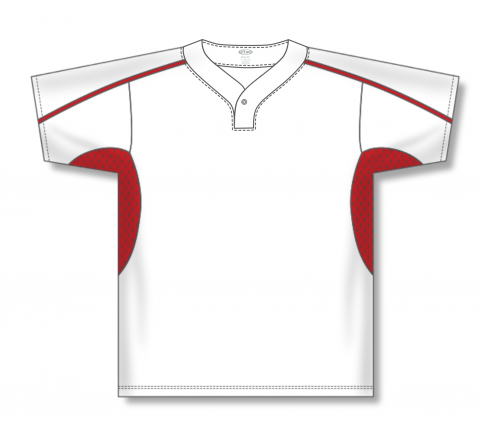 One Button Baseball Jerseys - White/Red