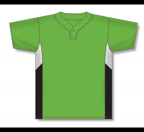 One Button Baseball Jerseys - Lime Green/White/Black