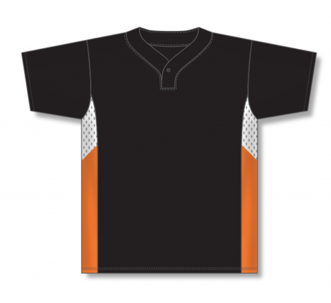 One Button Baseball Jerseys - Black/White/Orange