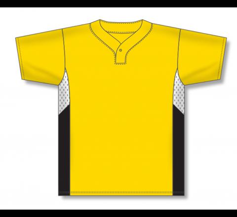 One Button Baseball Jerseys - Maize/White/Black