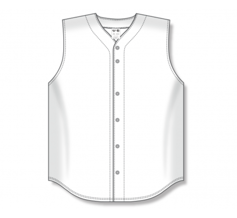 Full Button Baseball Jerseys - White