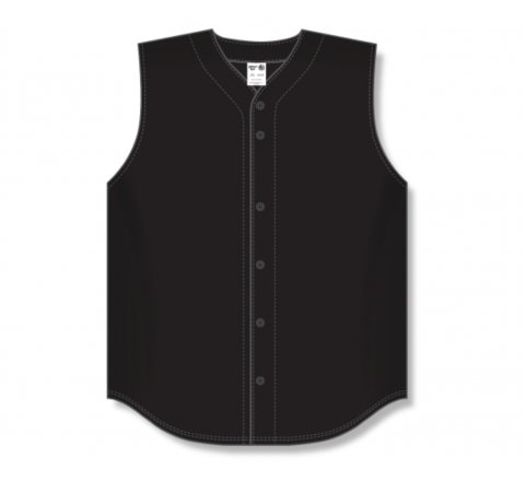 Full Button Baseball Jerseys - Black