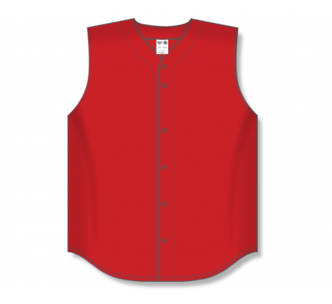 Full Button Baseball Jerseys - Red