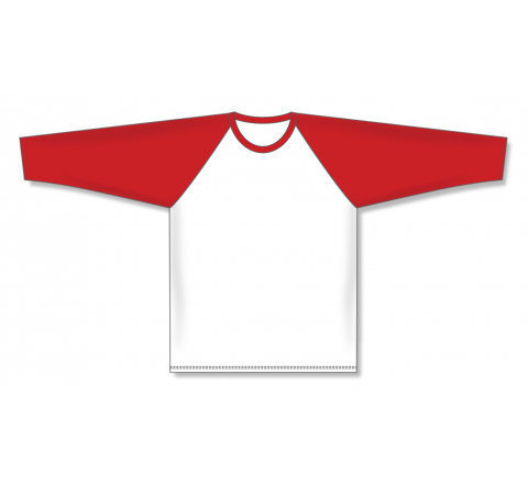 Pullover Long Sleeve Baseball Jerseys - White/Red